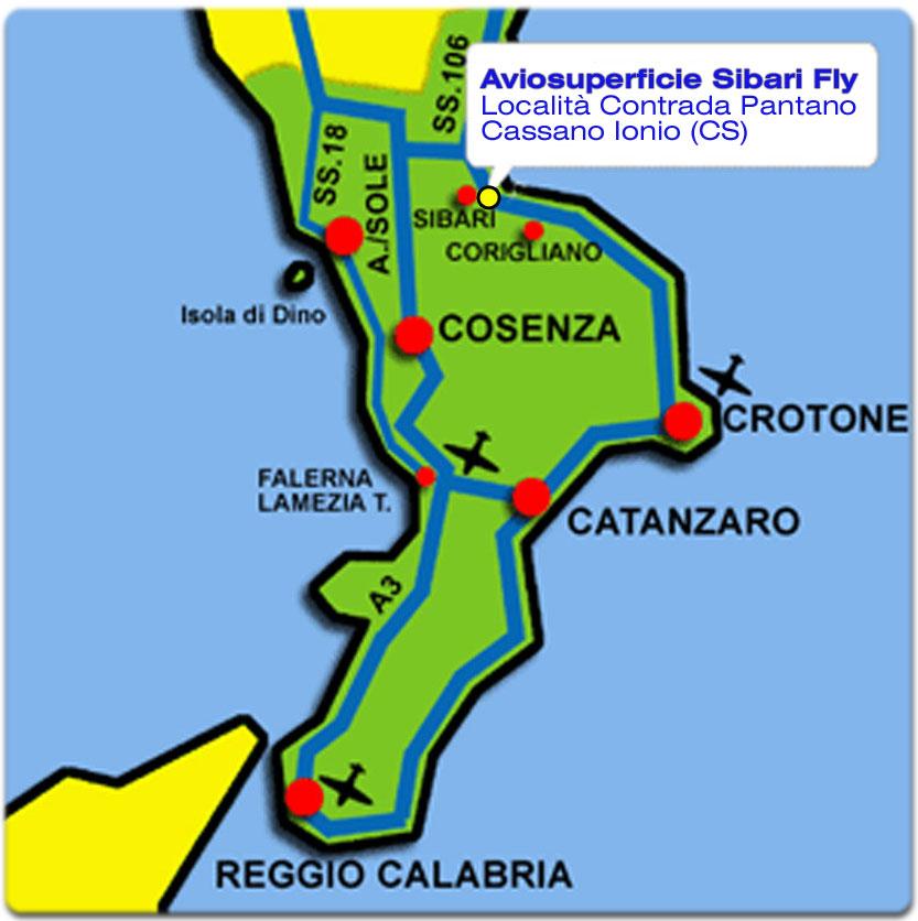 cartina aviosuperfici Calabria